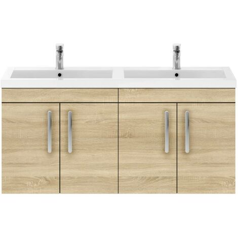 Nuie Athena Natural Oak 1200mm Wall Hung 4 Door Vanity Unit with Double Basin - ATH091C