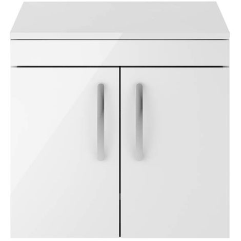 Nuie Athena Gloss White 600mm Wall Hung 2 Door Vanity Unit with Worktop - ATH095W