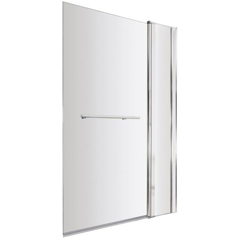 Nuie 1000mm Square 6mm Bath Screen with Fixed Panel and Rail - NSSQR2