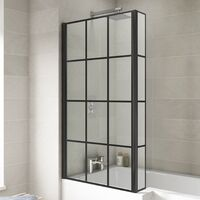 Colore Matt Black Framed Design 808mm Hinged L Shaped Bath Shower Screen