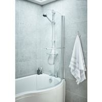 Nuie 720mm Curved Bath Screen with Rail - NCSR1