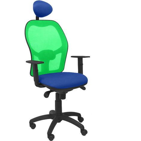 Silla Jorquera malla verde asiento bali azul con cabecero fijo