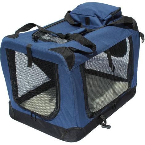 Transportin para perros plegable Yatek de entradas laterales y superiores con alta visibilidad, confort y seguridad para tu mascota de tamaño L ( 70 x 52 x 52 cm)