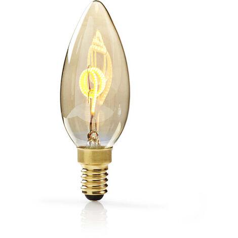 Nedis Bombilla de Filamento LED Atenuable E14 de Estilo Vintage | Vela | 3 W | 100 lm NE550672160