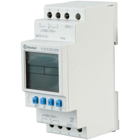 Interruptor Horario Semanal Digital Carril DIN DPDT 16Amp 12228230.0000 FINDER