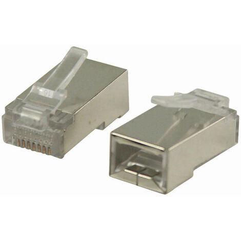 Nedis Conector de Red | RJ45 Macho - Para Cables CAT5 U/FTP Sólidos | 10 unidades | Metal NE550677245