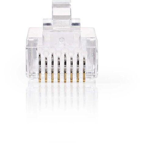 Nedis Conector de Red | RJ45 Macho - Para Cables CAT6 UTP Sólidos | 10 unidades | Transparente NE550677247