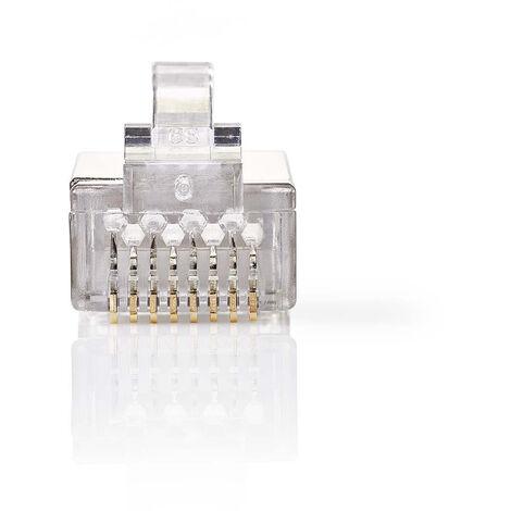 Nedis Conector de Red | RJ45 Macho - Para Cables CAT6 U/FTP Trenzados | 10 unidades | Metal NE550677250