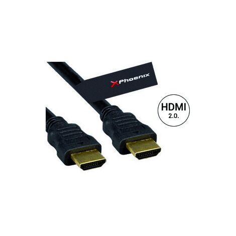 Cable hdmi version 2.0 phoenix phcablehdmi3m+ a macho a macho 3 metros conexion oro alta velocidad ethernet hasta 4k uhdtv 3840x2160@60hz hasta 18 gbits negro