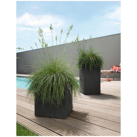 Lechuza Pot Canto Stone colonne Noir L.40xl.40xH.75cm