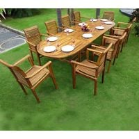 salon en teck pour le jardin, table rectangle grande taille ...