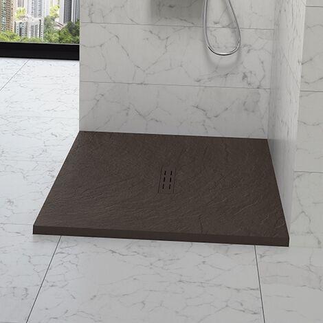 Kinedo - Receveur douche aspect pierre Kinestone, 100 x 80, chocolat - Chocolat