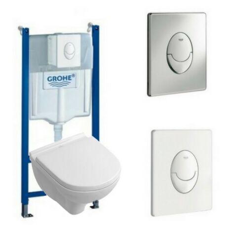 Villeroy & Boch Pack WC suspendu compact sans bride O.novo + abattant + plaque + bâti Grohe, plaque blanche