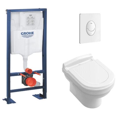 Villeroy & Boch Pack WC suspendu Hommage + abattant + plaque + bâti Grohe, plaque blanche