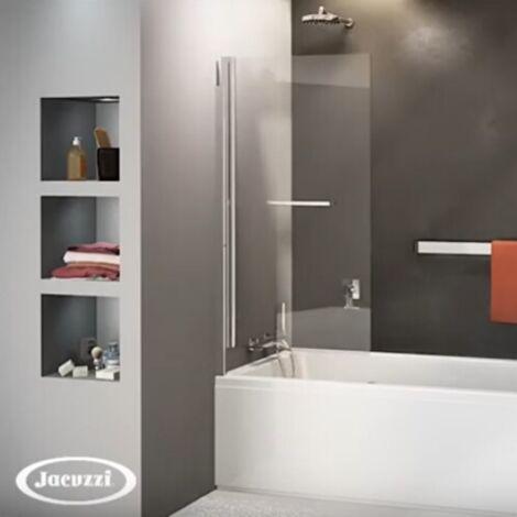 Pare baignoire pivotant et relevable Atelier du bain Epure, 140 x 80, Noir