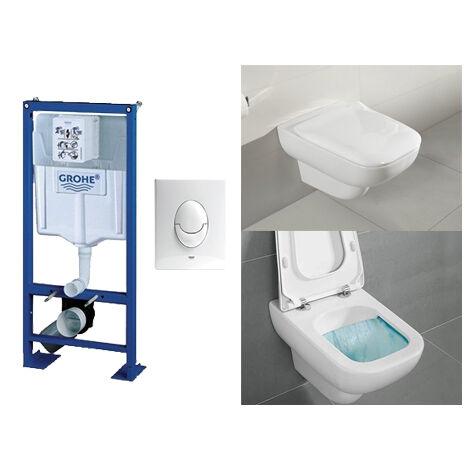 Villeroy & Boch Pack WC suspendu sans bride Joyce + abattant + plaque + bâti Grohe, abattant frein de chute, plaque blanche
