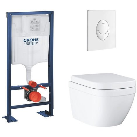Grohe Pack WC suspendu sans bride Euro Ceramic + abattant + plaque + bâti Grohe, blanche