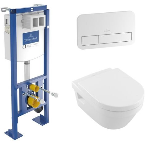 Villeroy & Boch Pack WC suspendu compact sans bride O.novo + abattant + plaque + bâti Villeroy & Boch, plaque blanche