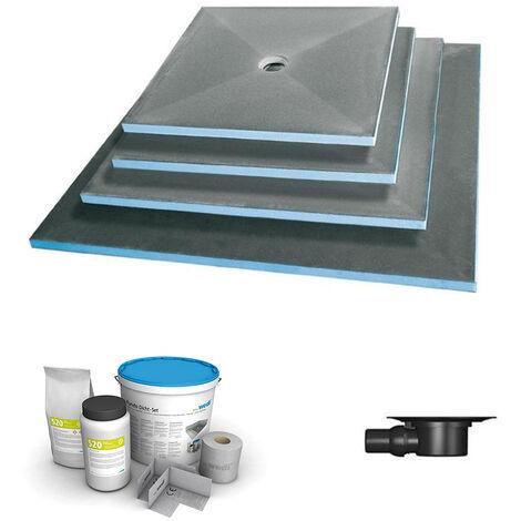 Wedi - Receveur écoulement centré Fundo primo + ecoulement grille carrée + kit d étancheité, 90 x 90, ecoulement horizontal