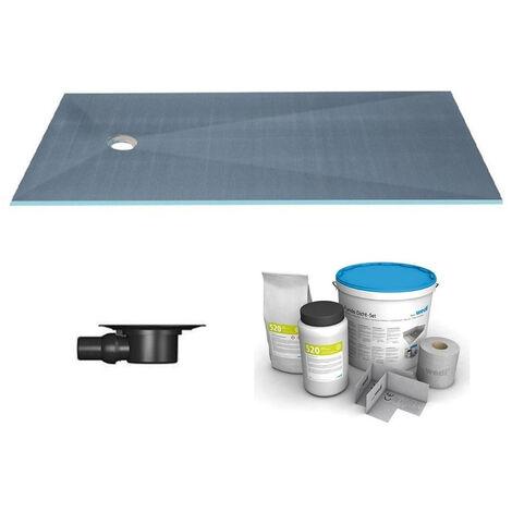 Wedi - Receveur écoulement centré sur la largeur Fundo primo + ecoulement grille carrée + kit d étancheité, 120 x 90, ecoulement horizontal