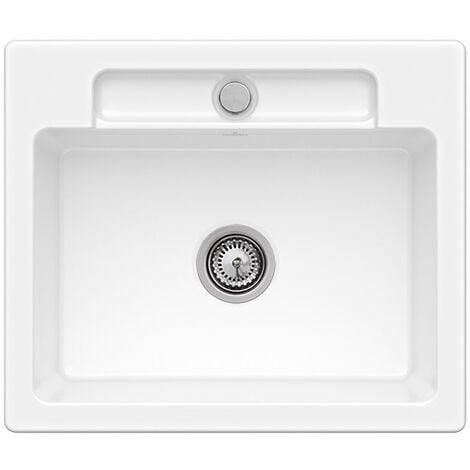 Villeroy et Boch - Evier 1 bac Siluet 60 S, blanc ceramicplus, sans systeme de vidage