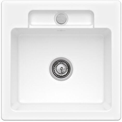 Villeroy et Boch - Evier 1 bac Siluet 50 S, blanc ceramicplus, sans systeme de vidage