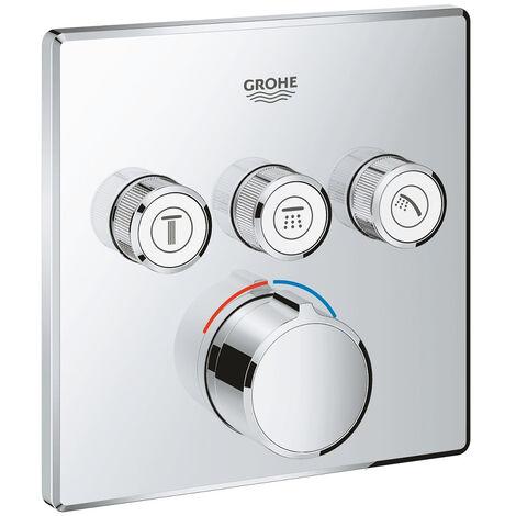 GROHE - Mitigeur encastré 3 sorties Grohe SmartControl - Façade carrée