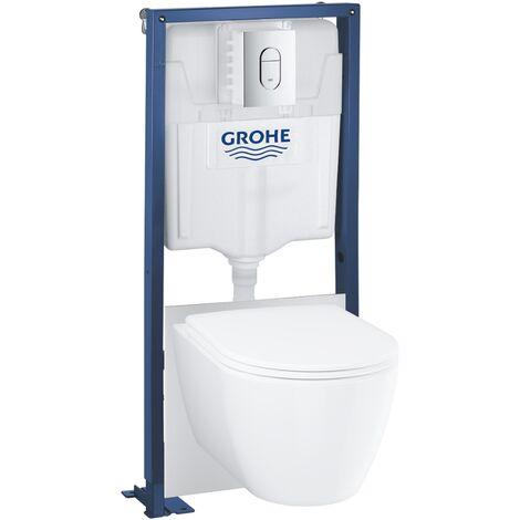 Grohe Pack WC suspendu sans bride Essence + abattant + plaque chromée + bâti Grohe