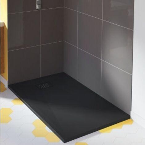 Kinedo - Receveur douche extra plat Kinesurf+, 90 x 70, noir, bonde centree sur la longueur