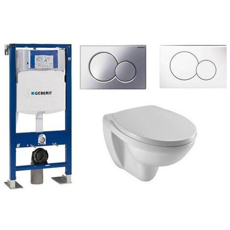 Jacob Delafon Pack WC suspendu compact Patio + abattant + plaque + bâti Geberit, abattant standard, plaque blanche