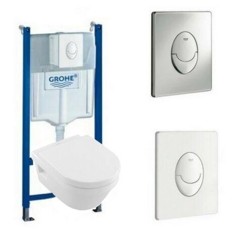 Villeroy & Boch Pack WC suspendu sans bride Architectura + abattant + plaque + bâti Grohe, plaque blanche