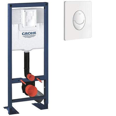 Bati support wc largeur réduite avec plaque de commande Grohe, plaque commande Skate Air, vertical , blanc