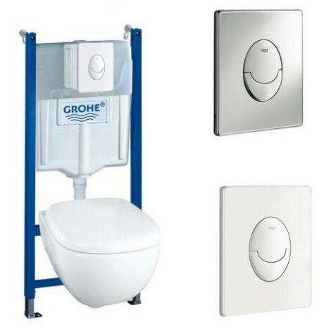 Villeroy & Boch Pack WC suspendu sans bride Joyce + abattant + plaque + bâti Grohe, plaque chromée