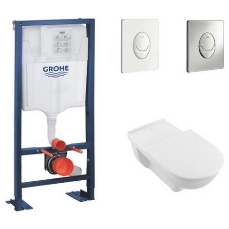 Villeroy et Boch - Cuvette wc sans bride PMR O Novo Vita + abattant + bati support GROHE + plaque de commande , plaque chromee