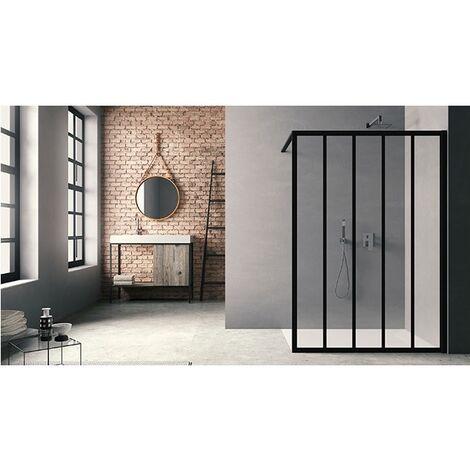 Paroi douche fixe Atelier du bain Loft Classic, 100, verre transparent traité anticalcaire, argent