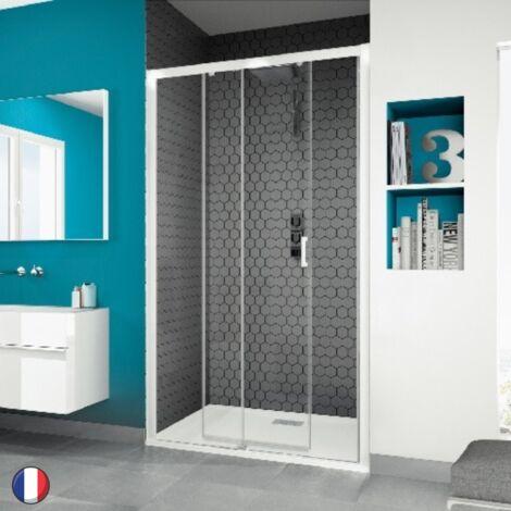 Paroi douche porte coulissante Kinedo Smart C, 110, verre transparent traité anticalcaire, blanc, Gauche