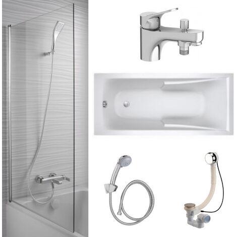 Jacob Delafon - Lot baignoire acrylique, mitigeur bain douche monotrou, pare bain et accessoires, 150 X 70