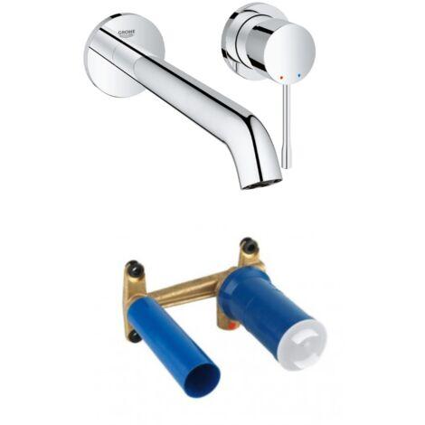 GROHE - Essence Mitigeur monocommande 2 trous lavabo Taille L vendu avec corps encastré, chrome