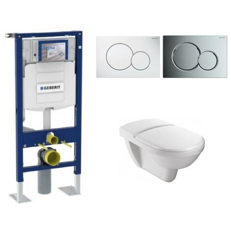 Jacob Delafon - Cuvette wc PMR Odeon Jacob Delafon + abattant + bati support GEBERIT + plaque de commande, plaque blanche