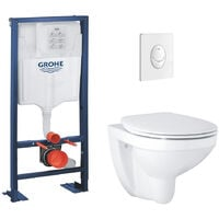 Grohe Pack WC suspendu Bau Ceramic + abattant + plaque + bâti Grohe, blanche