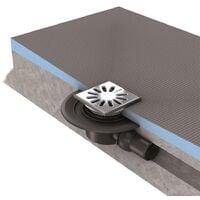 Wedi - Receveur écoulement excentré Fundo primo + ecoulement grille carrée + kit d étancheité, 90 x 90, ecoulement horizontal
