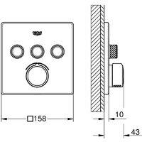 Grohe - Mitigeur douche encastrable Grohtherm avec Smartcontrol 3 sorties et corps d encastrement universel Rapido Smartbox