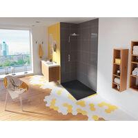 Kinedo - Receveur douche extra plat Kinesurf+, 90 x 70, gris beton, bonde centree sur la longueur