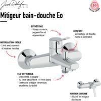 Jacob Delafon - Mitigeur bain-douche Eo + Douchette Shift Ellipse + Flexible douche Grohe SilverFlex