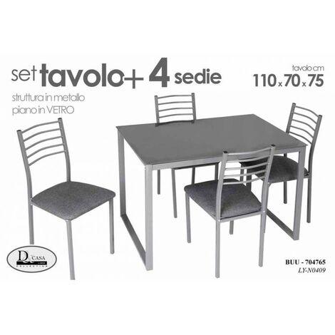 Set tavolo piano vetro con 4 sedie cucina soggiorno