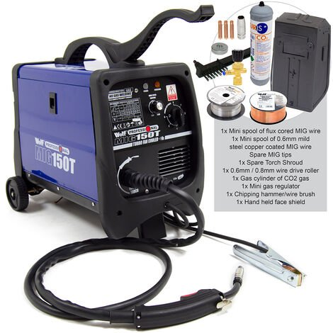 Wolf Gas / No Gas Welding MIG 150T with Co2 Gas Cylinder