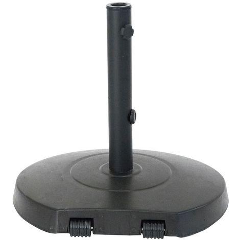Pied de parasol rond à roulettes - Béton - 28 Kg - Noir - Noir