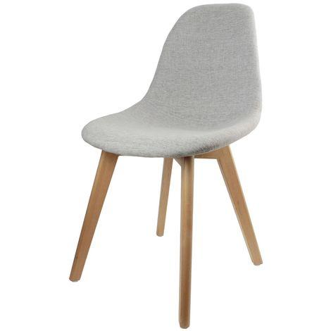Chaise scandinave en tissus Olga - H. 83 cm - Gris clair - Gris clair