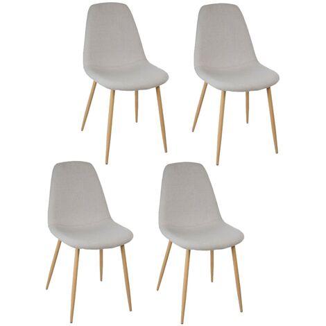 Lot de 4 - Chaise design scandinave Roka - 45 x 53 x 87 - Gris clair