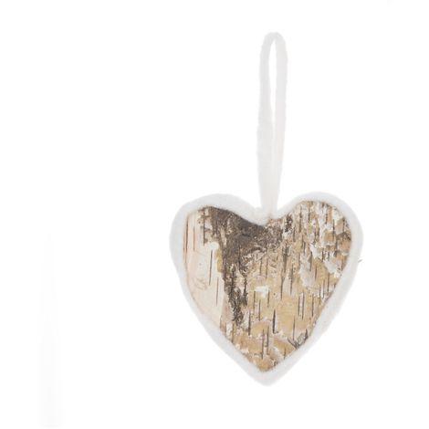 Décoration pour sapin de Noël en bois Laine - Cœur - 18 x 10 - Marron